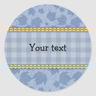 Beautiful plaid and leaf design classic round sticker