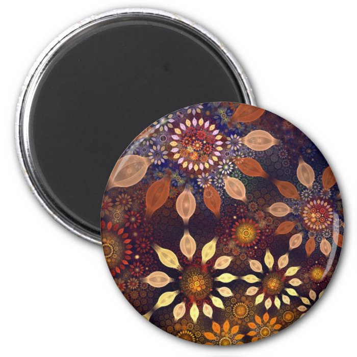 BEAUTIFUL  PLASTIC FLOWERS 2 INCH ROUND MAGNET