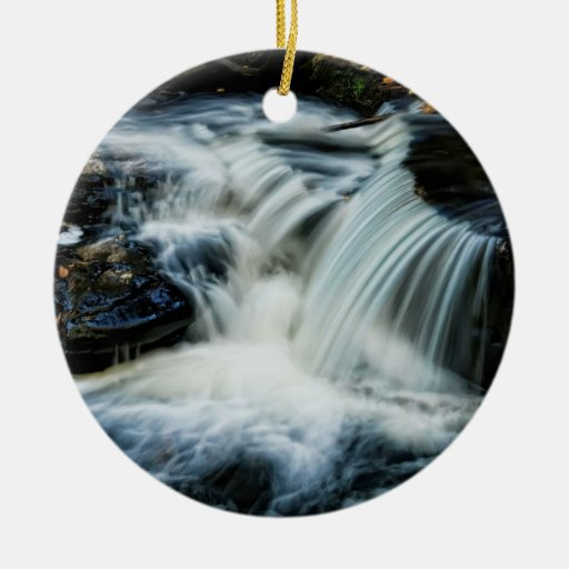 Beautiful Pocono Waterfall Double-Sided Ceramic Round Christmas Ornament