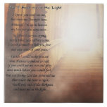 """Beautiful poem for loss of a pet on a ceramic tile<br><div class=""""desc"""">You&#39;ll Meet me in the Light Poem with peaceful image to cherish a lost pet. A touching and loving memorial for your lost pet.</div>"""