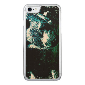 Beautiful polar bear on black background carved iPhone 7 case