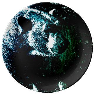 Beautiful polar bear on black background porcelain plate