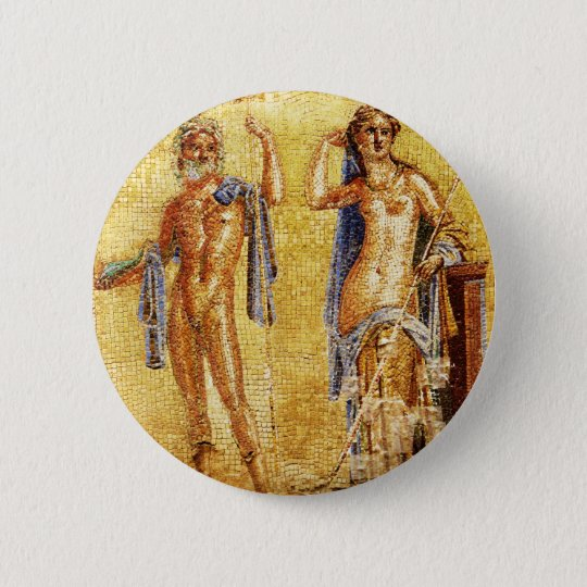 BEAUTIFUL Pompeii Mosaic Pinback Button