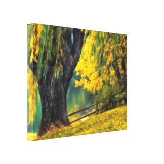 Beautiful Pond Willows on Canvas