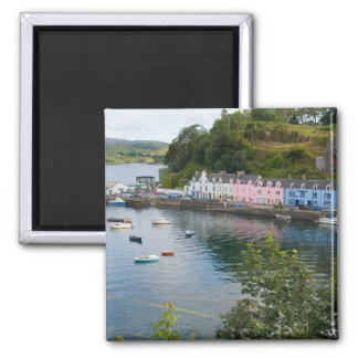 Beautiful port and sailboats with reflections in 2 2 inch square magnet