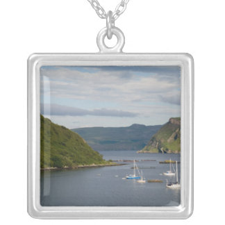 Beautiful port and sailboats with reflections in silver plated necklace