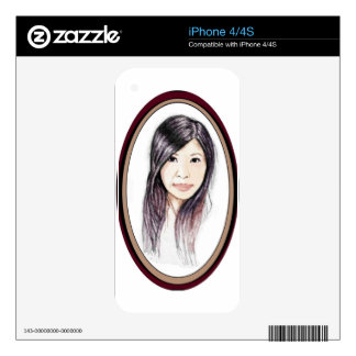 Beautiful Portrait of an Asian Woman Decals For iPhone 4