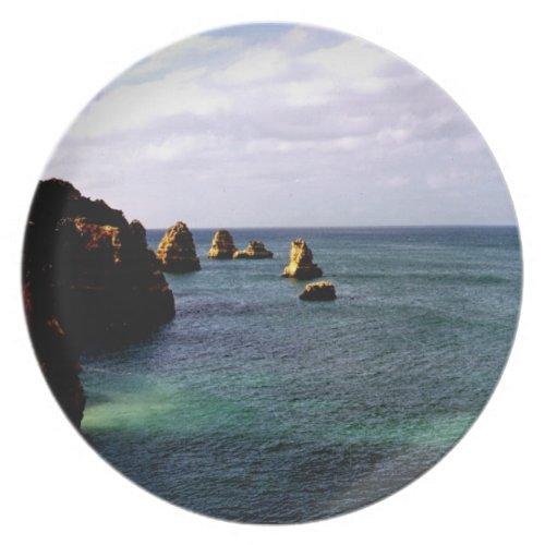 Beautiful Portugal Ocean - Teal &amp&#x3B; Azure Paradise Melamine Plate