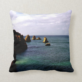 Beautiful Portugal Ocean - Teal & Azure Paradise Throw Pillow