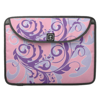 Beautiful Pretty Purple Floral Swirls Vine on Pink Sleeves For MacBook Pro