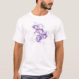 Beautiful Pretty Purple Floral Swirls Vine on Pink T-Shirt