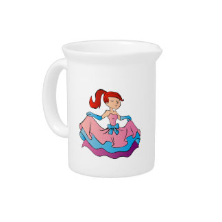 Beautiful princess cartoon. beverage pitcher