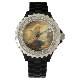Beautiful princess- fantasy mermaid at sunset back wrist watch