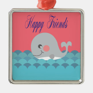 Beautiful print whale happy friends. metal ornament