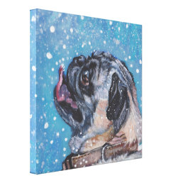 Beautiful Pug in the snow Fine Art Dog Painting Canvas Print