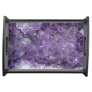 Beautiful Purple Amethyst Healing Crystals Serving Tray