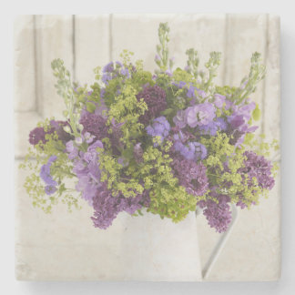 Beautiful purple and green floral bouquet stone coaster