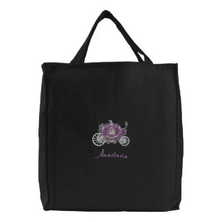 Beautiful Purple And Silver Pumpkin Carriage Embroidered Tote Bag