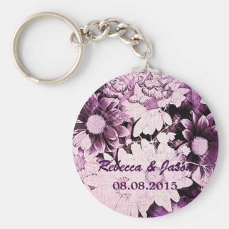 Beautiful purple and white floral design. keychain