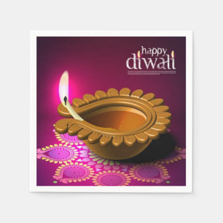 Beautiful Purple Background Diwali Lamp Paper Napkin