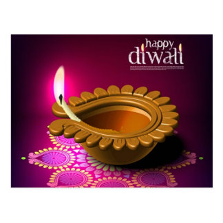 Beautiful Purple Background Diwali Lamp Postcard