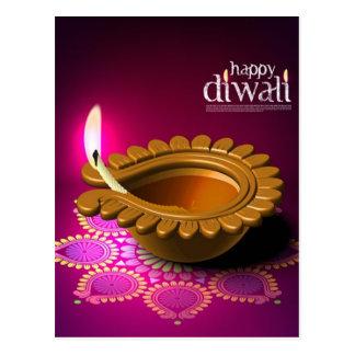 Beautiful Purple Background Diwali Lamp Post Cards