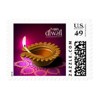 Beautiful Purple Background Diwali Lamp Stamp