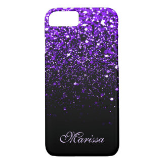 Beautiful Purple Black Glitter Sparkles Stylish iPhone 8/7 Case