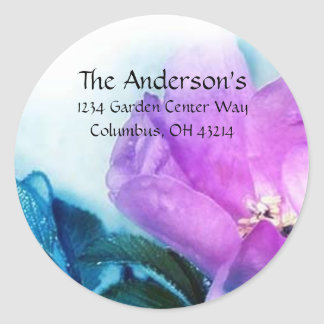 Beautiful Purple & Blue Flower Address Labels Classic Round Sticker