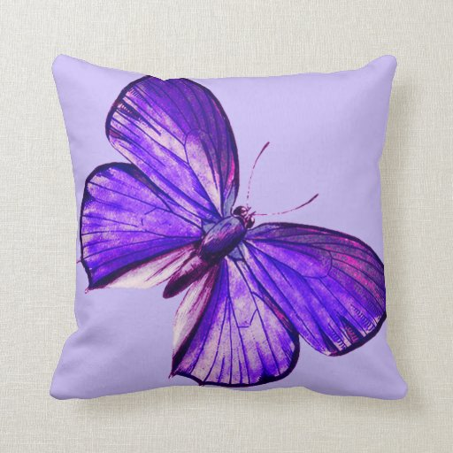 Beautiful Purple Butterfly Throw Pillow