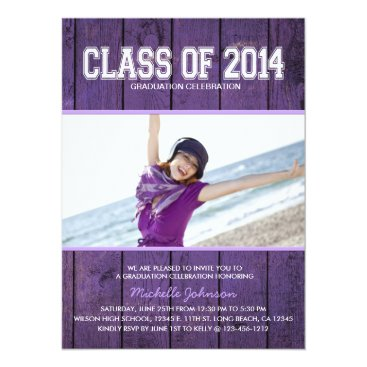 Beach Themed Beautiful Purple Class of 2015 Graduation Card