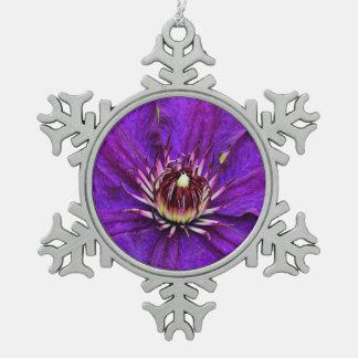 Beautiful purple clematis flower snowflake pewter christmas ornament