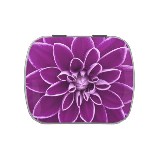 Beautiful purple dahlia flower jelly belly candy tins