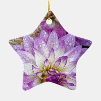 Beautiful purple dahlia flowers ceramic ornament