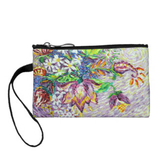 Beautiful Purple Flower Abstract Coin Purses