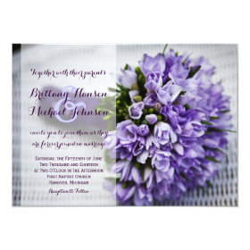 Beautiful Purple Flower Bouquet Wedding Invitation 4.5