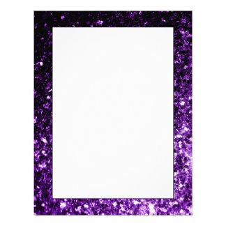 Beautiful Purple glitter sparkles Letterhead