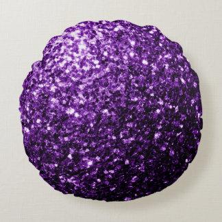 Beautiful Purple glitter sparkles Round Pillow
