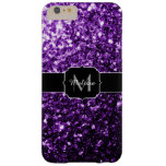 Beautiful Purple glitter sparkles Monogram Barely There iPhone 6 Plus Case