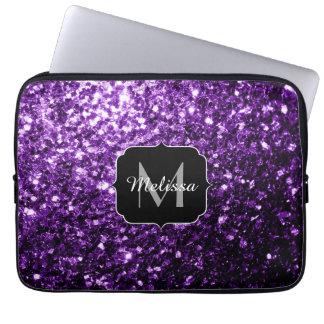 Beautiful Purple glitter sparkles Monogram Computer Sleeves
