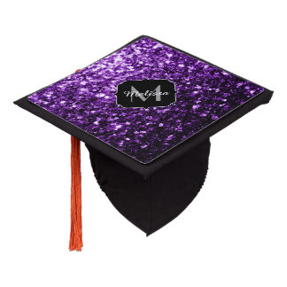Beautiful Purple glitter sparkles Monogram Graduation Cap Topper