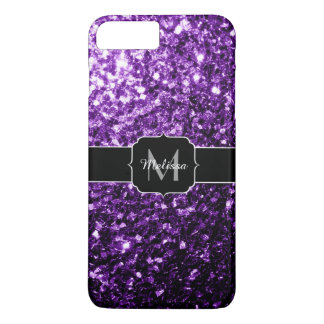 Beautiful Purple glitter sparkles Monogram iPhone 7 Plus Case