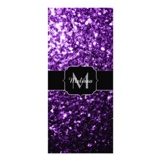 Beautiful Purple glitter sparkles Monogram Rack Card