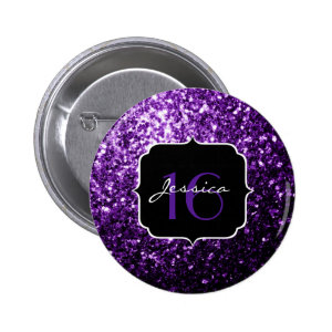 Beautiful Purple glitter sparkles  2 Inch Round Button