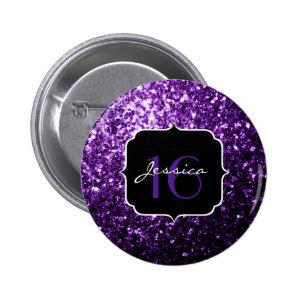 Beautiful Purple glitter sparkles  2 Inch Round Button