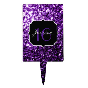 Beautiful Purple glitter sparkles  Cake Topper