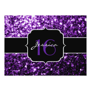 Beautiful Purple glitter sparkles  5.5x7.5 Paper Invitation Card