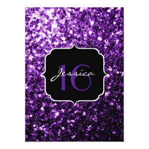 Beautiful Purple glitter sparkles  5.5x7.5 Paper Invitation Card