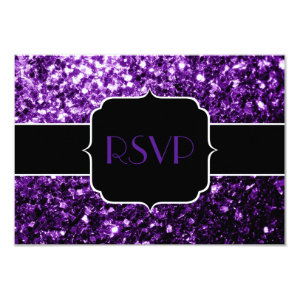 Beautiful Purple glitter sparkles Sweet 16 RSVP 3.5x5 Paper Invitation Card