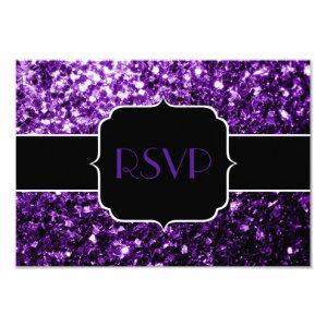 Beautiful Purple glitter sparkles Sweet 16 RSVP 3.5x5 Paper Invitation Card